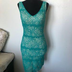 Green lace mini dress